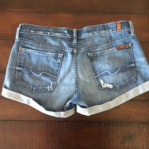 7 For All Mankind Shorts - 7 For All Mankind cuffed distressed midi shorts